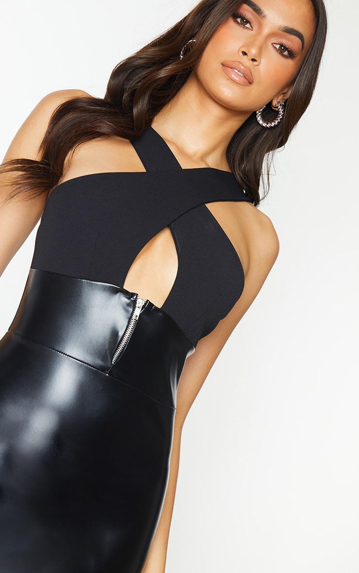 Black PU Zip Detail Cross Front Bodycon Dress 4