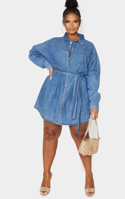 Plus Mid Blue Wash Belt Detail Denim Dress