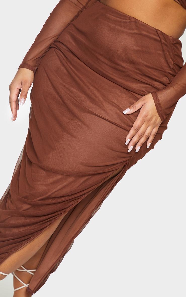 Plus Chocolate Layered Mesh Ruched Split Detail Maxi Skirt 4