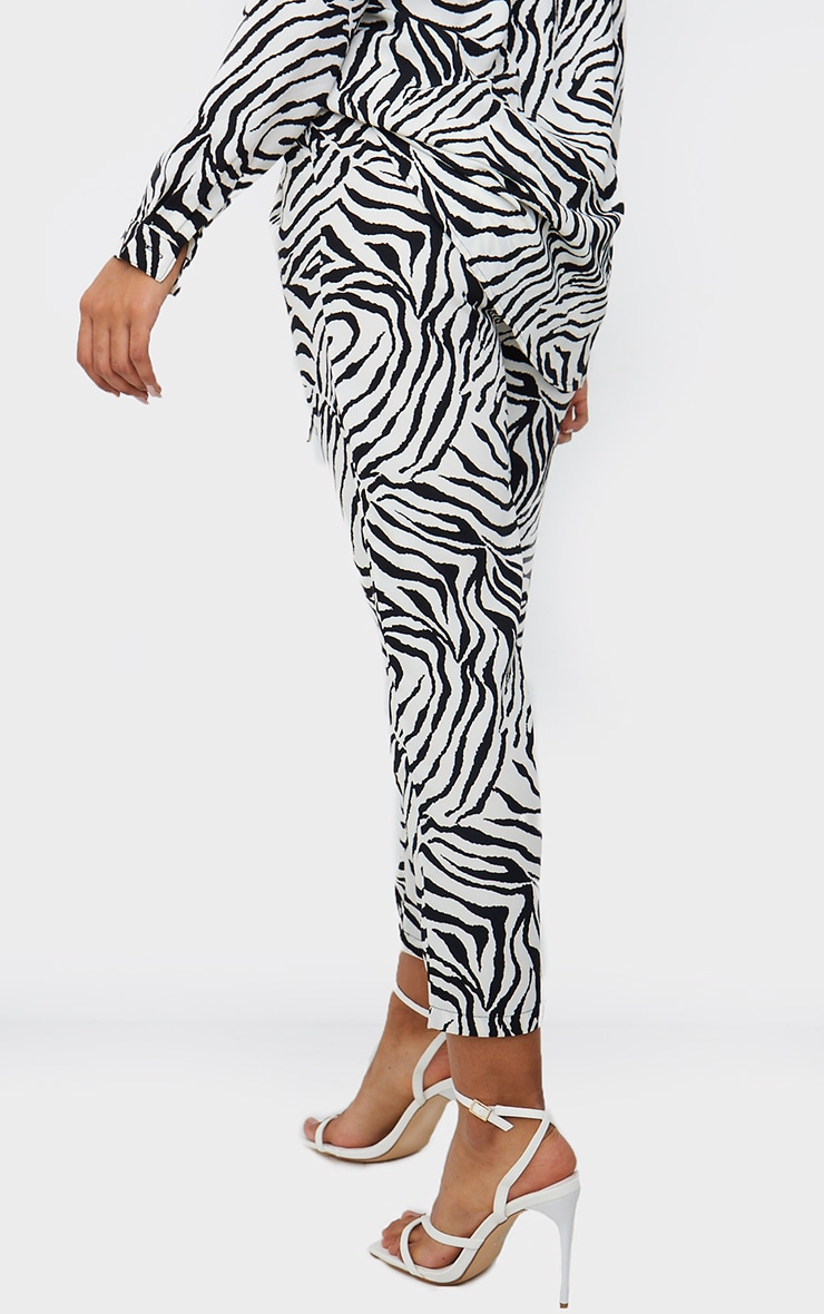 Black Zebra Print Cigarette Trousers 3