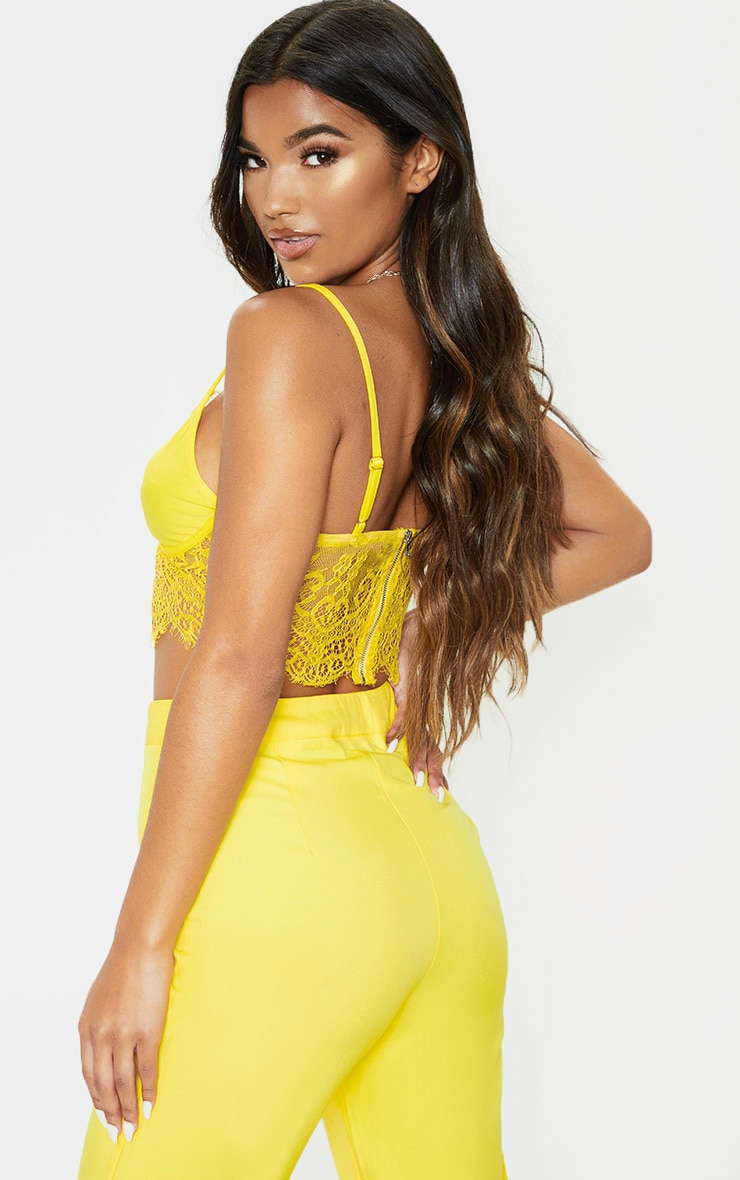 Yellow Lace Trim Strappy Bralet 2