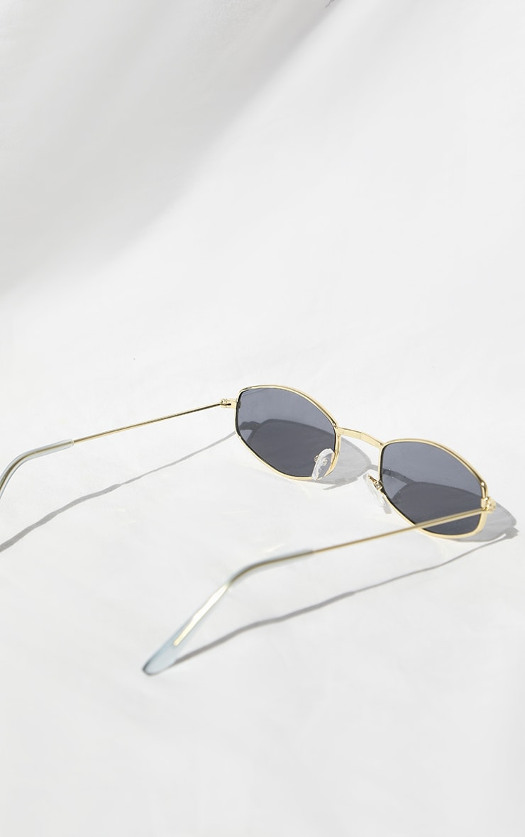Gold Rim Thin Hexagon Sunglasses 3