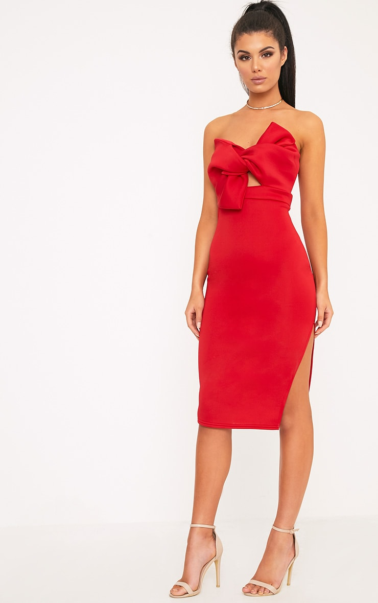 Elisse Red Bow Detail Scuba Midi Dress 1