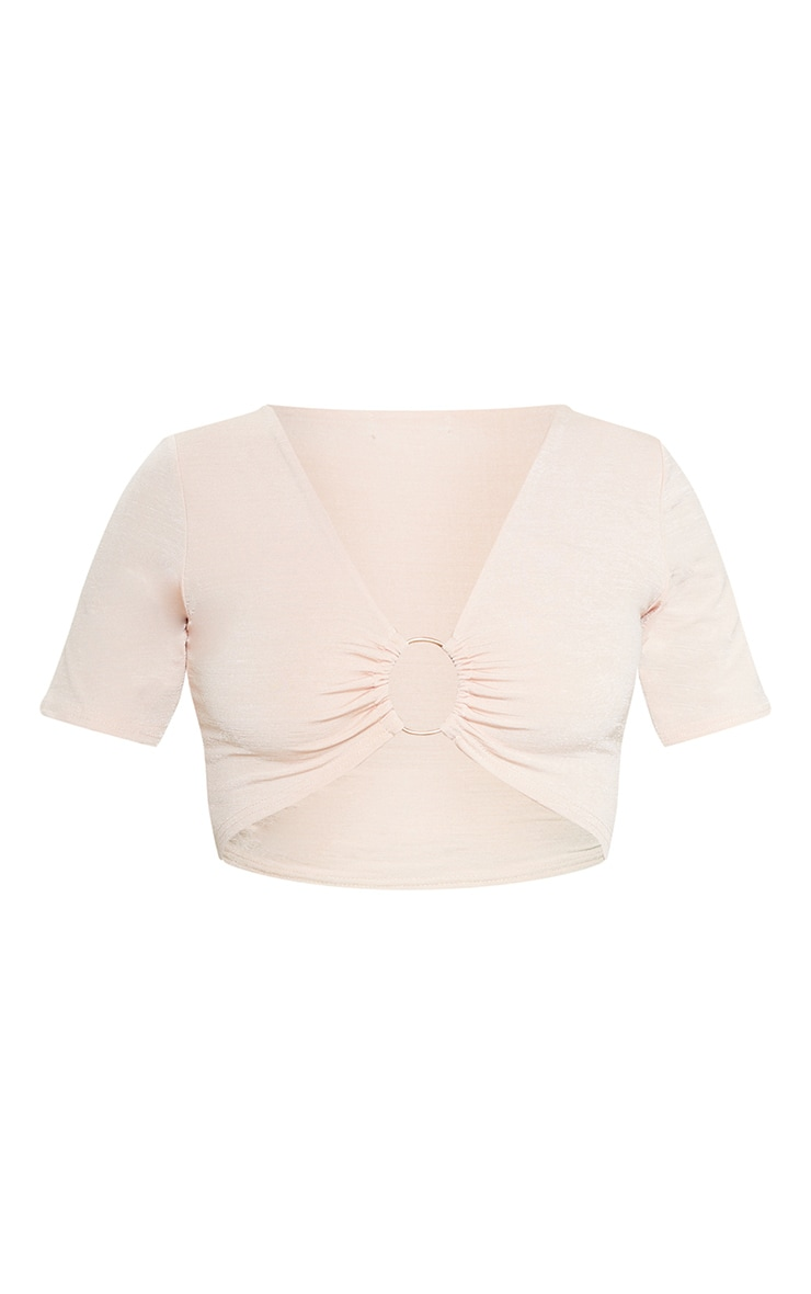 Baby Pink Slinky Ring Detail Crop Top 4