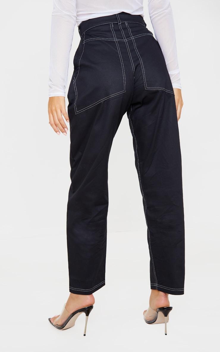 Black Contrast Stitch Cargo Trouser 4