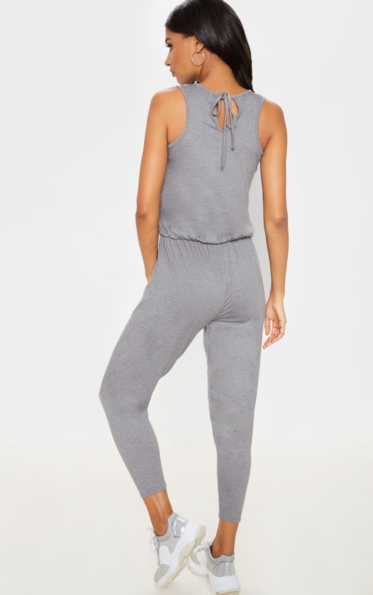 Grey Jersey Sleeveless Elasticated Waist Jumpsuit 2