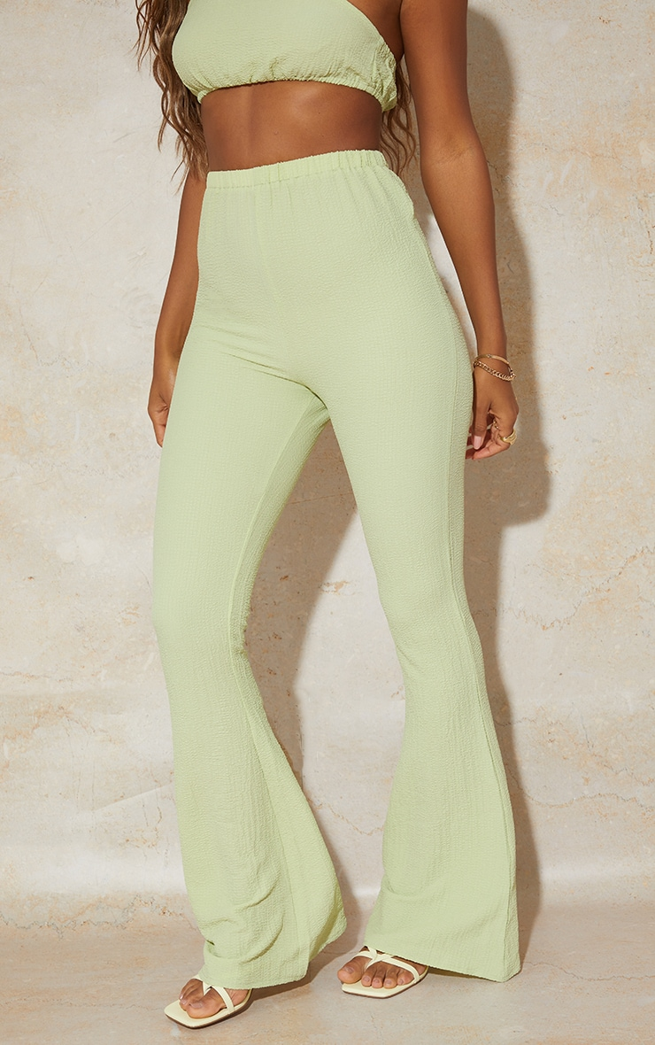 Lime Textured Wide Leg Pants 2
