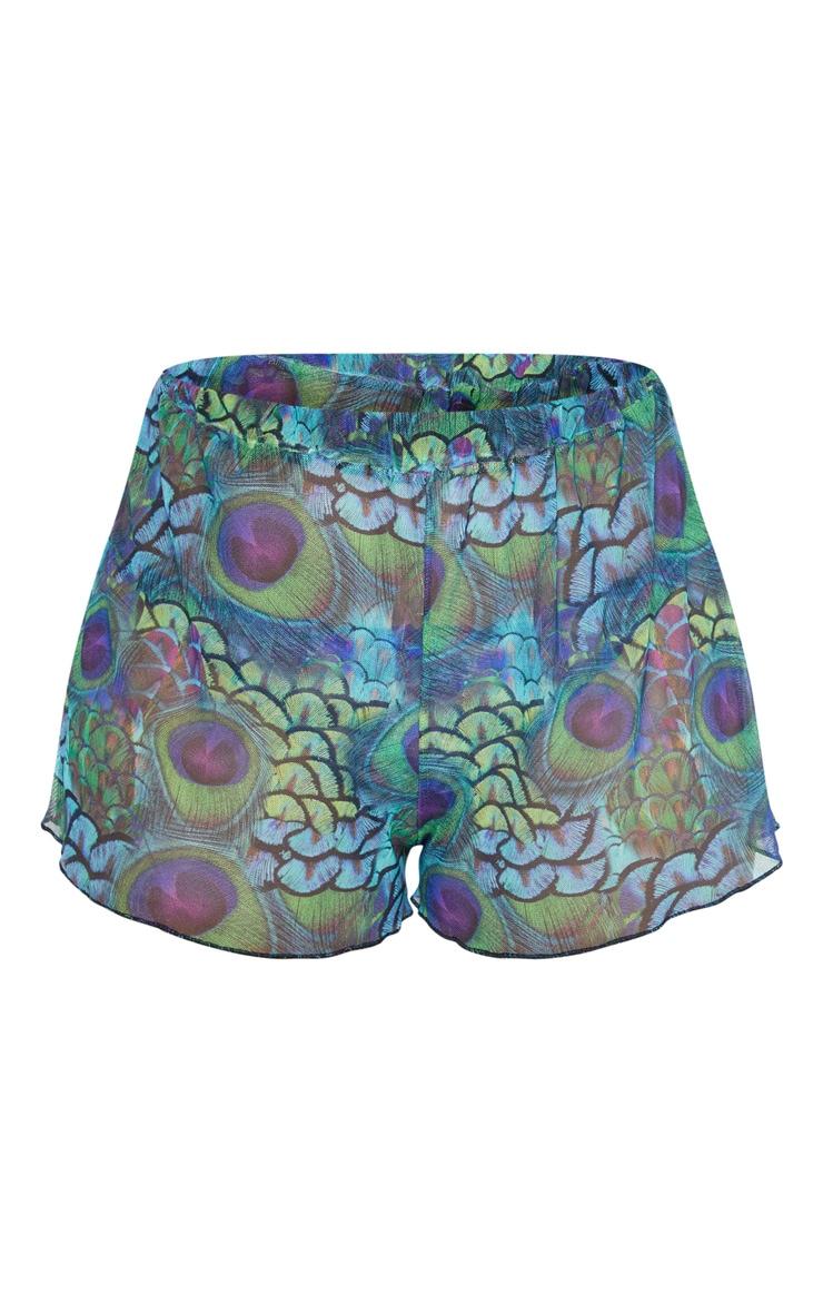 Plus Multi Peacock Print Mesh Shorts 3