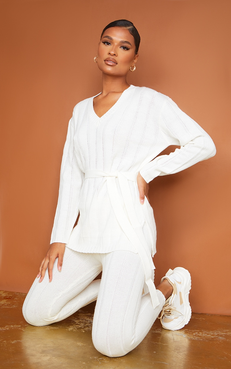 Cream Belted Longline Sweater And Legging Lounge Set 1