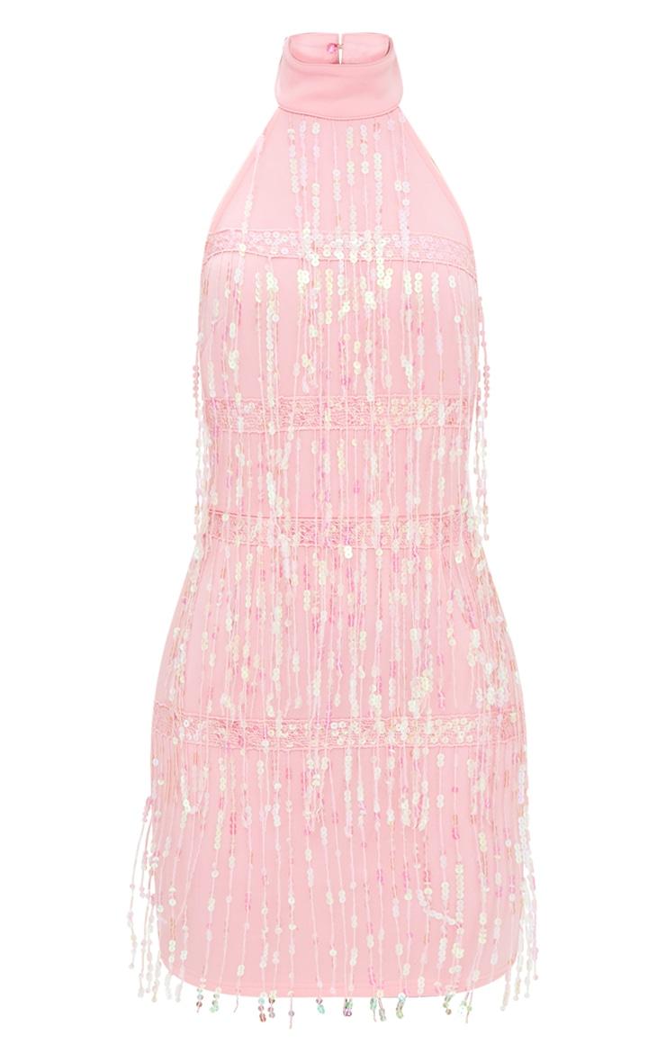Pale Pink Tassel Sequin Bodycon Dress 3
