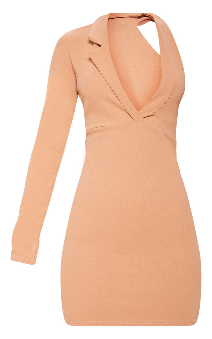 Camel Cut Out One Shoulder Blazer Dress 3