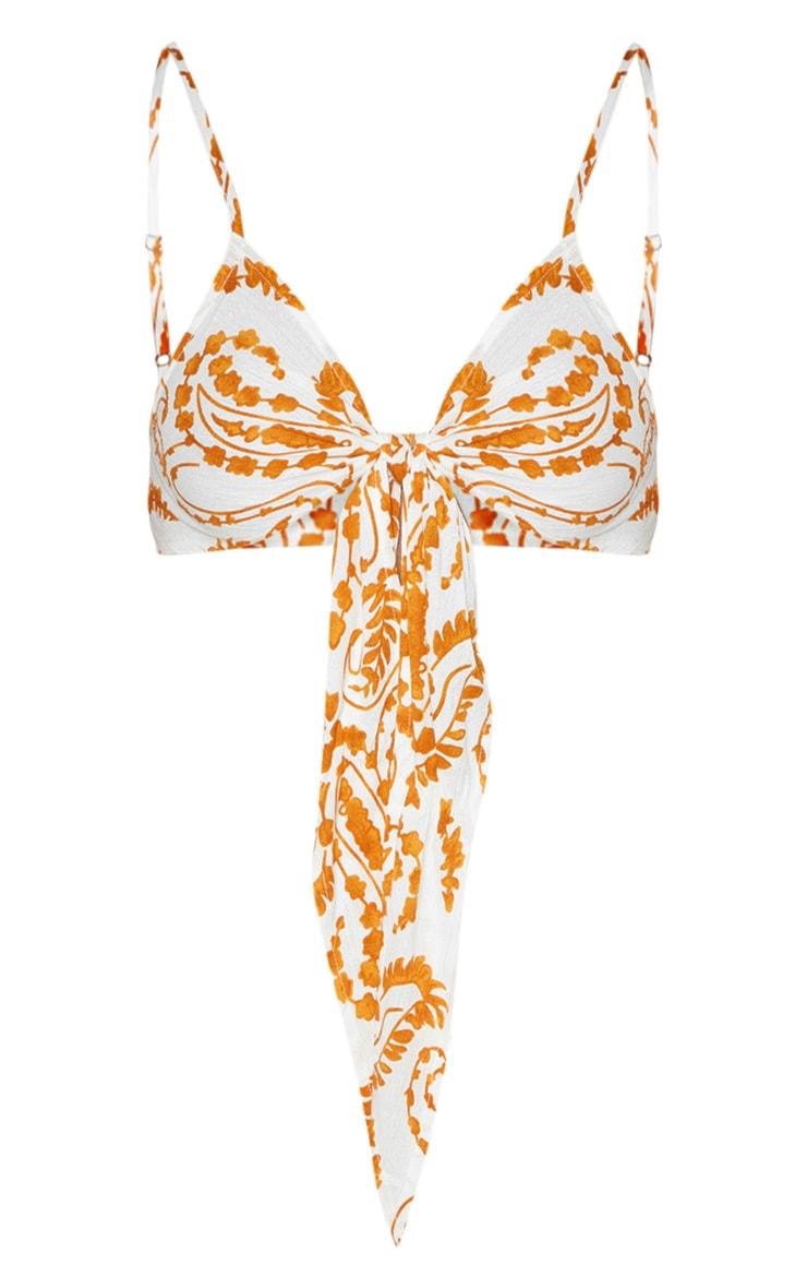 White Paisley Print Tie Front Bralet 3