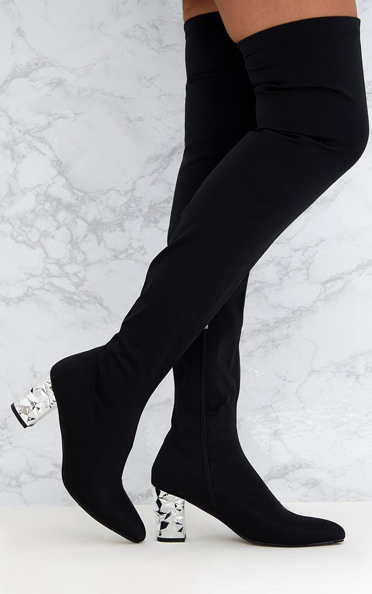 Black Metallic Heel Lycra  Thigh High Boots 1