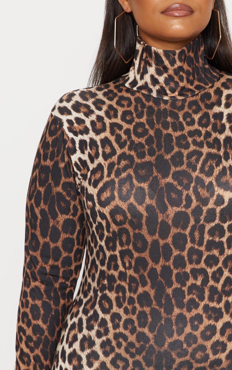 Plus Tan Leopard Print High Neck Midi Dress 5