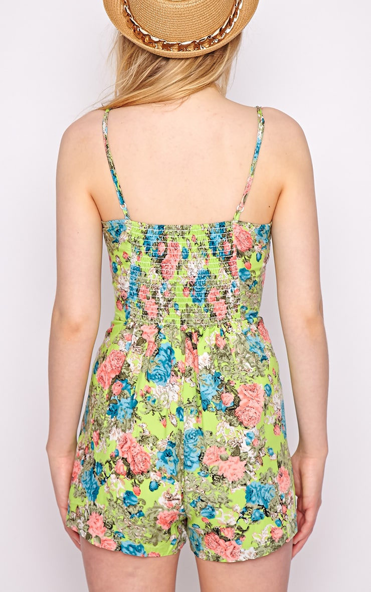 Carrie Green Floral Playsuit  2