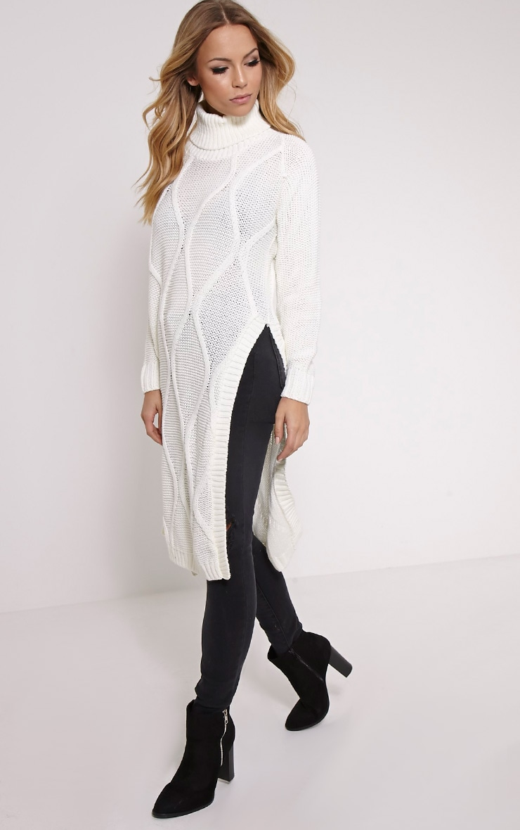 Lark Cream Cable Knit Side Split Jumper 4