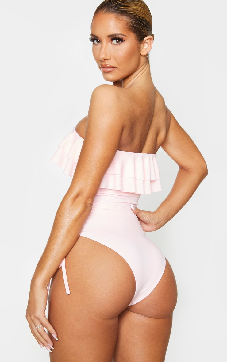 Baby Pink Frill Ruched Side Swimsuit 2