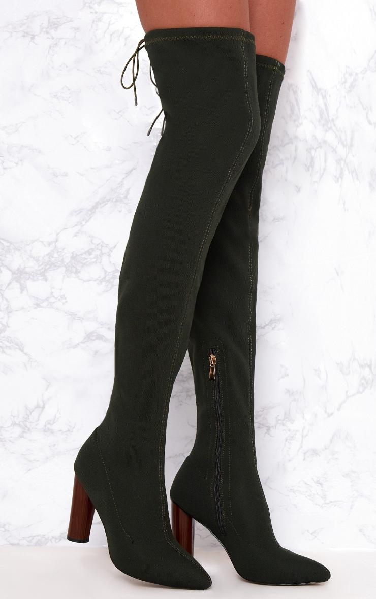 Khaki Woven Thigh High Sock Heeled Boots  1