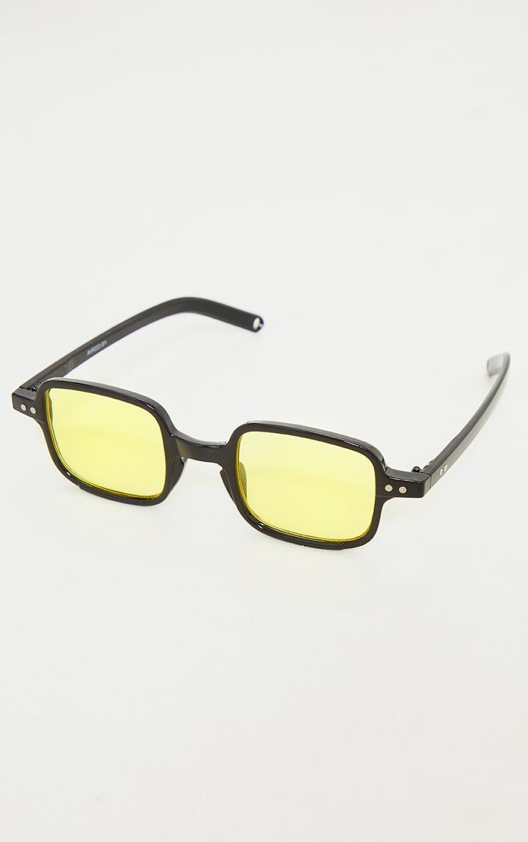 Black Mini Square Yellow Lens Sunglasses 2