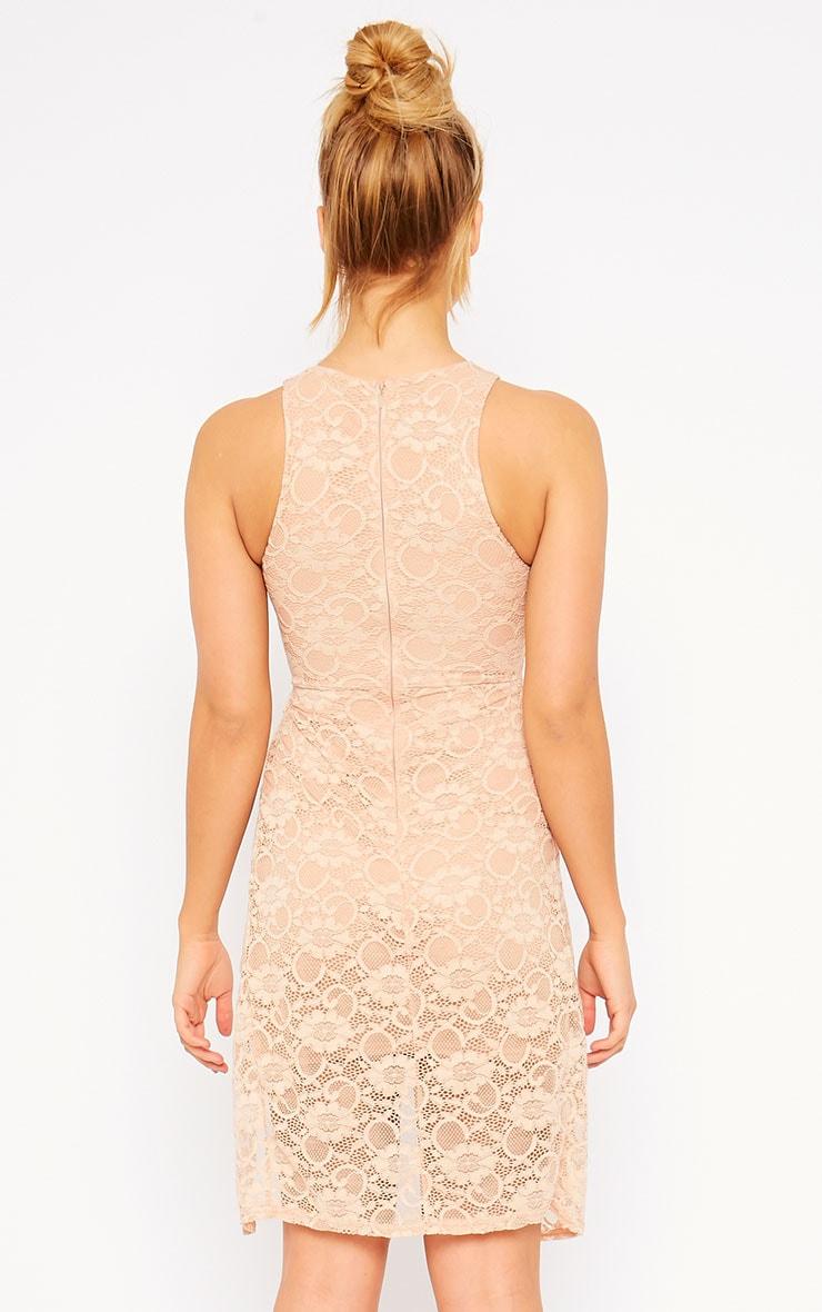 Maliha Nude Lace Cut Out Dress 2