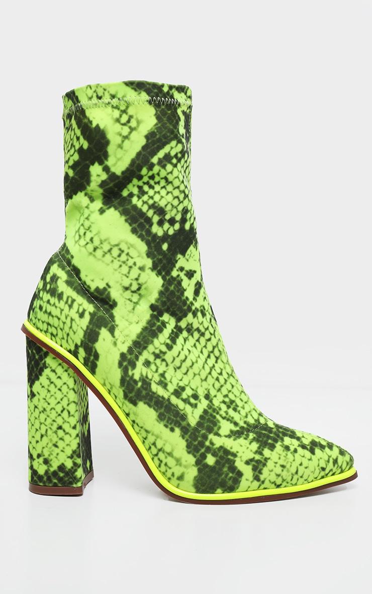 Bottes-chaussettes serpent à liserés contrastants fluo & gros talon 3