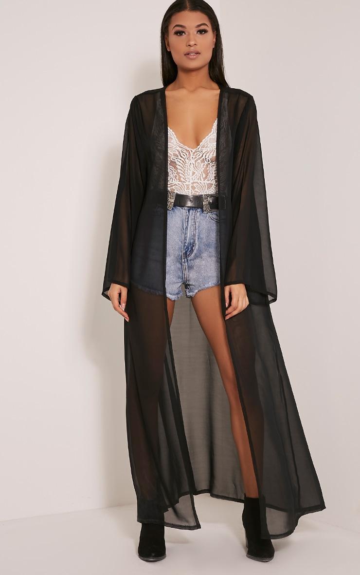 Xalia Black Sheer Kimono 1