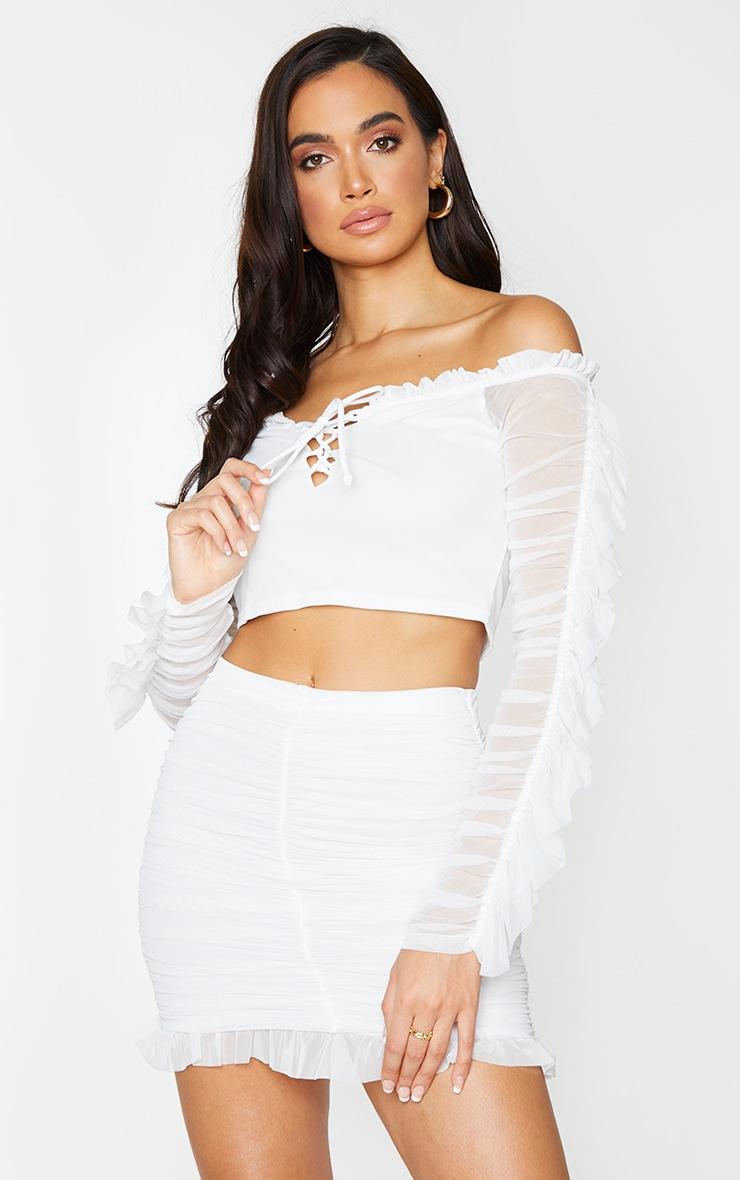 White Mesh Layered Frill Hem Long Sleeve Bardot Crop Top 1