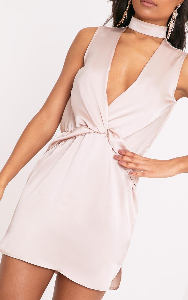 Kaitlyn Champagne Satin Choker Twist Front Shift Dress 5