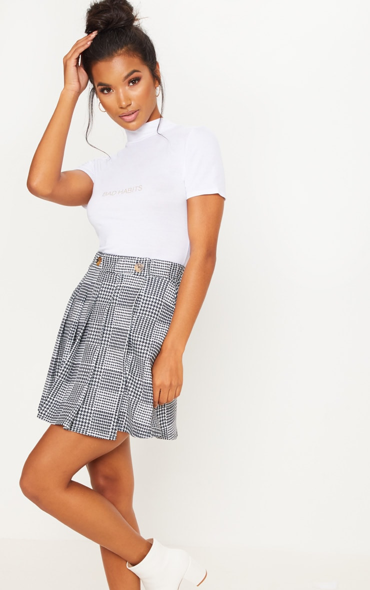 White And Black Button Detail Check Tennis Skirt