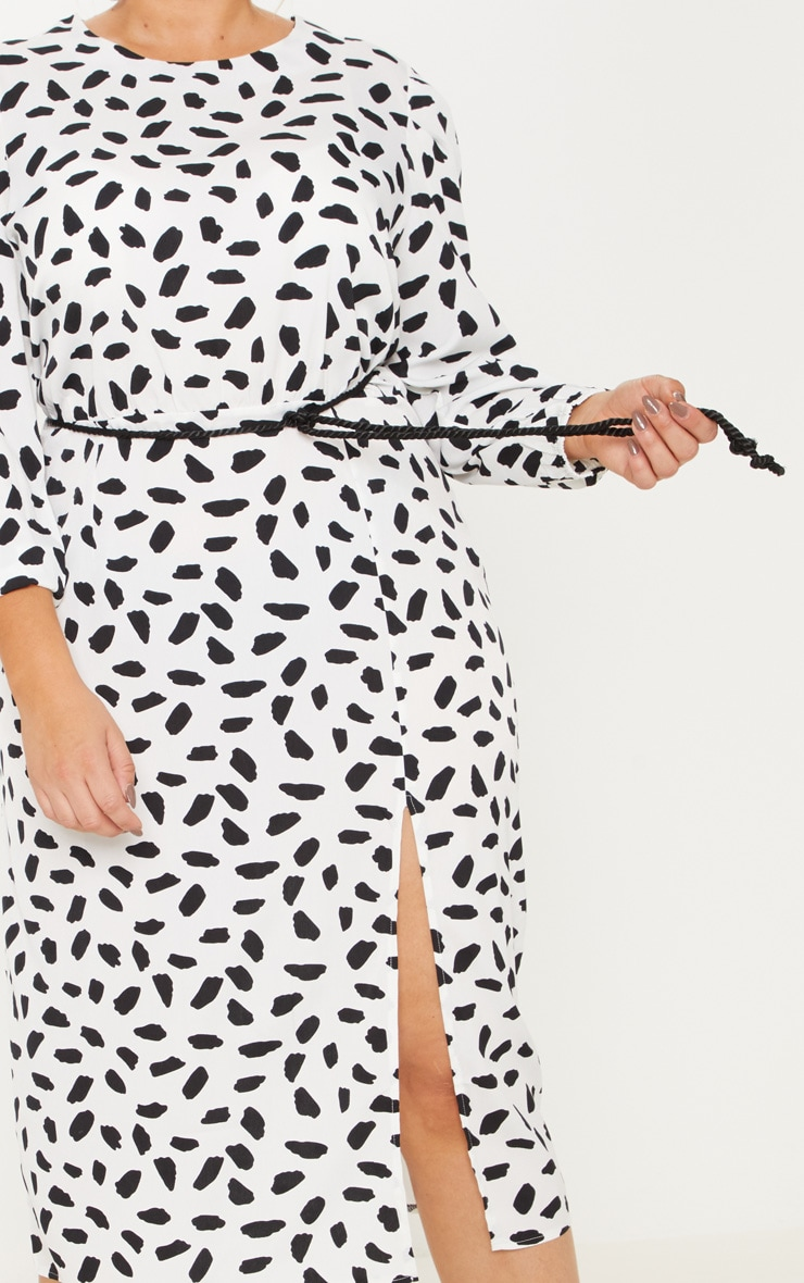 Plus White Tie Waist Dalmatian Print Midi Dress 5