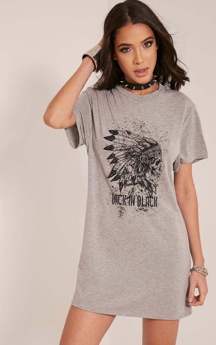 Skull Printed Grey T Shirt Dress 1