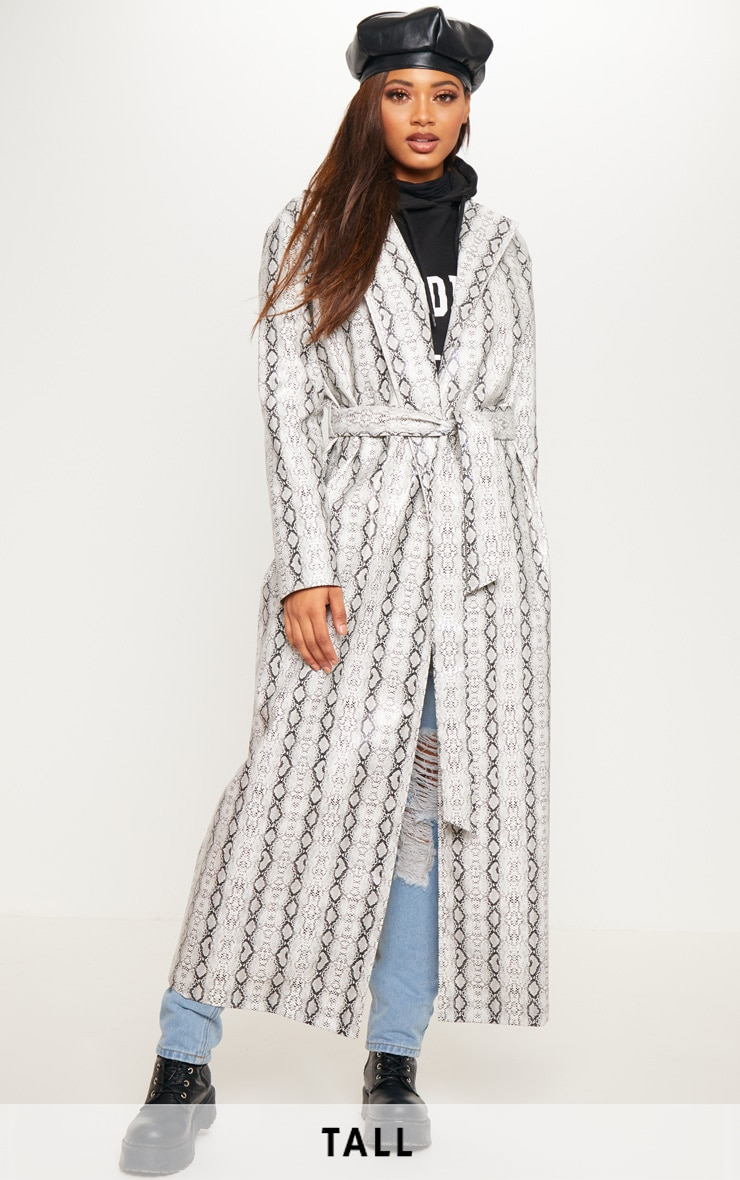 Tall Grey PU Snake Print Belted Trench Coat image 1 abae43c1125