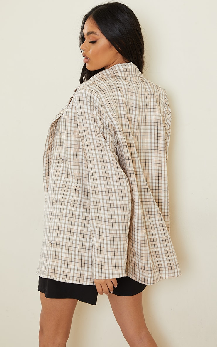 Stone Checked Woven Triple Breasted Oversized Blazer 2