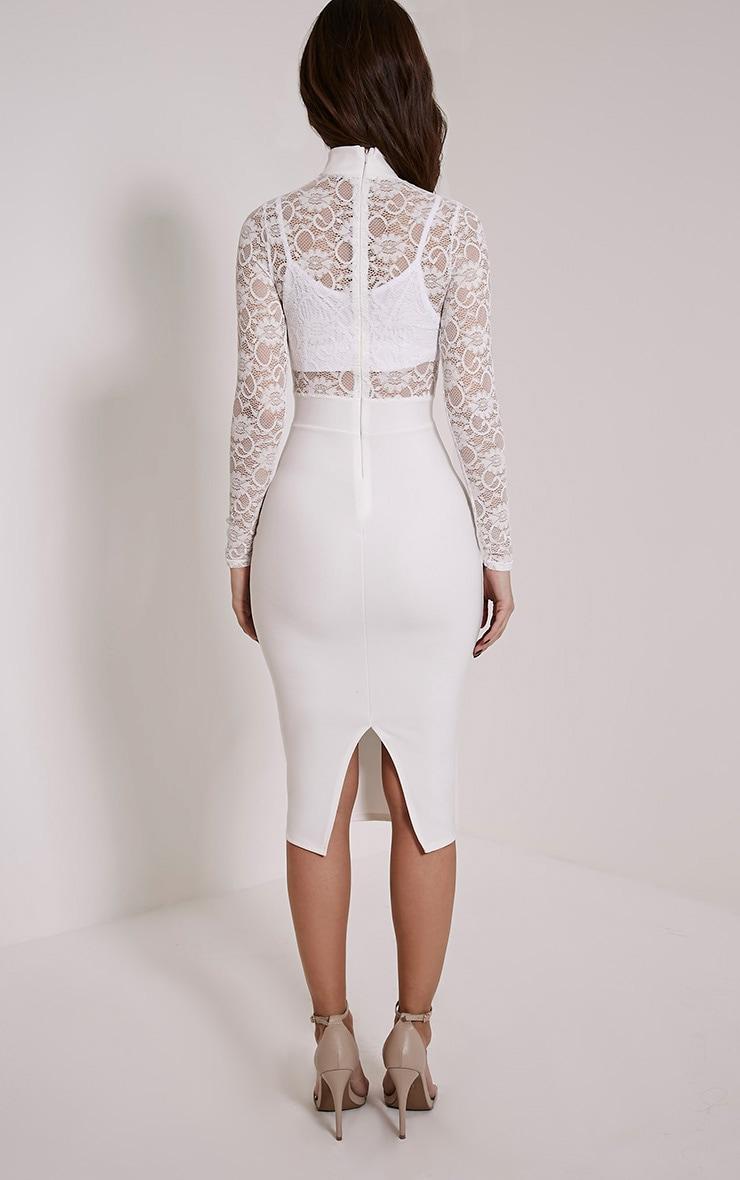 Kizzy White Lace Top Midi Dress 2