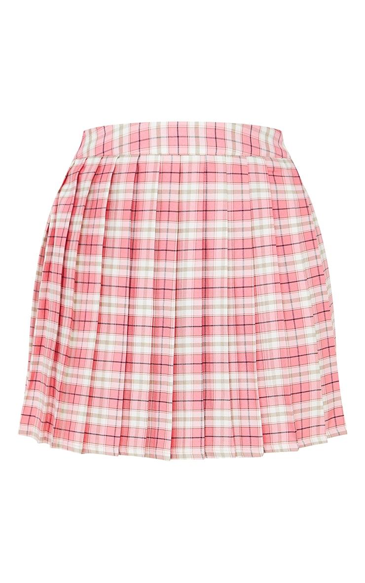 Petite Pink Woven Check Tennis Skirt 6