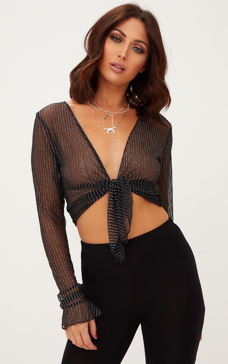 Black Glitter Stripe Tie Front Crop Top  1