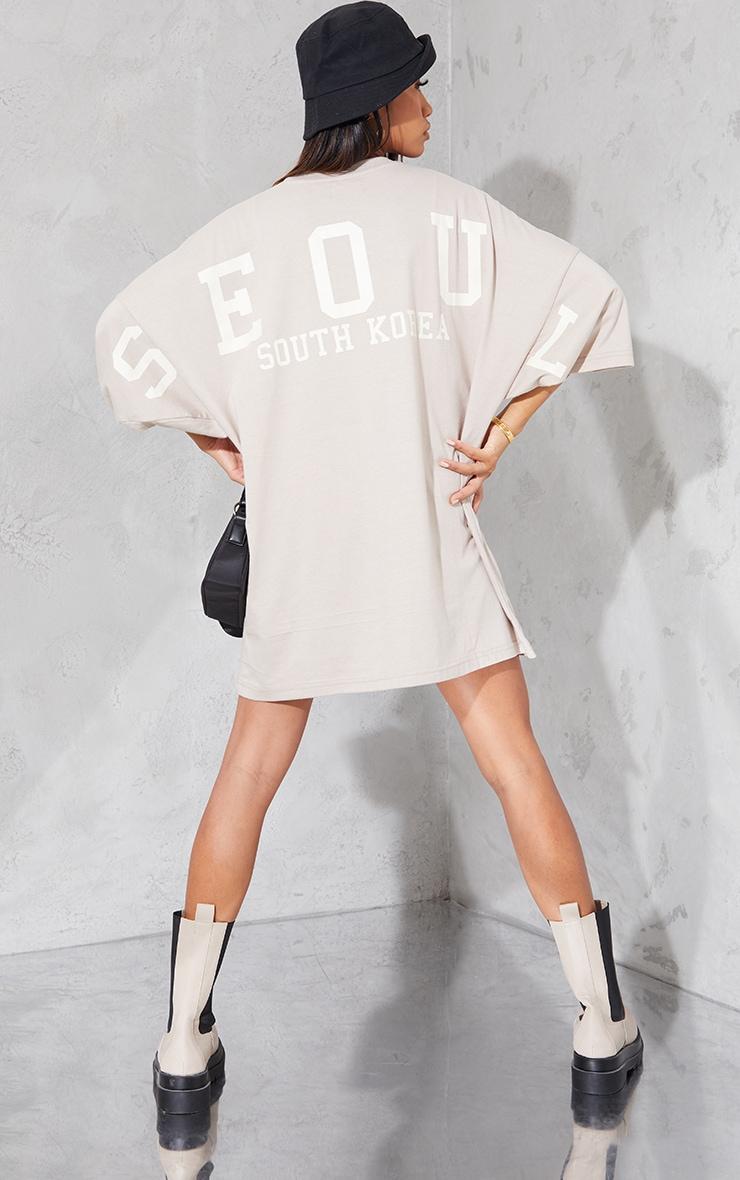 Oatmeal Seoul South Korea Slogan Short Sleeve T Shirt Dress 3