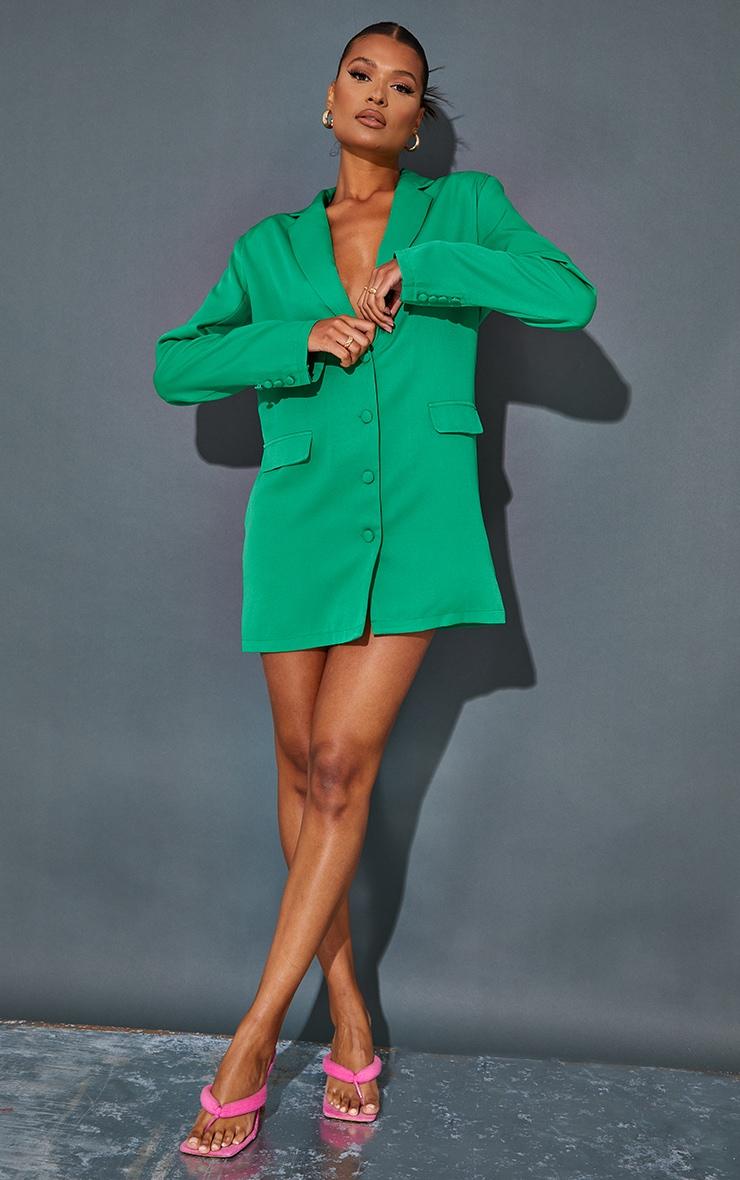 Green Long Sleeve Oversized Shoulder Pad Blazer Dress 3