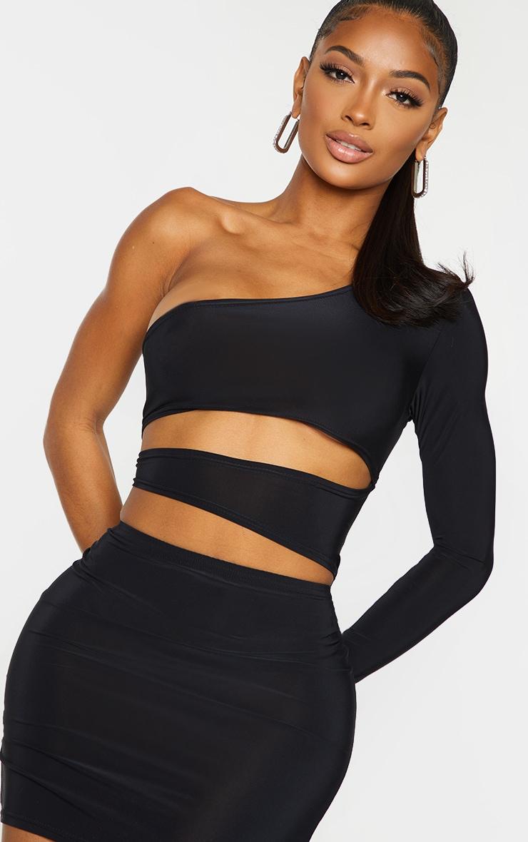 Shape Black Slinky Cut Out Side One Sleeve Bodycon Dress 4