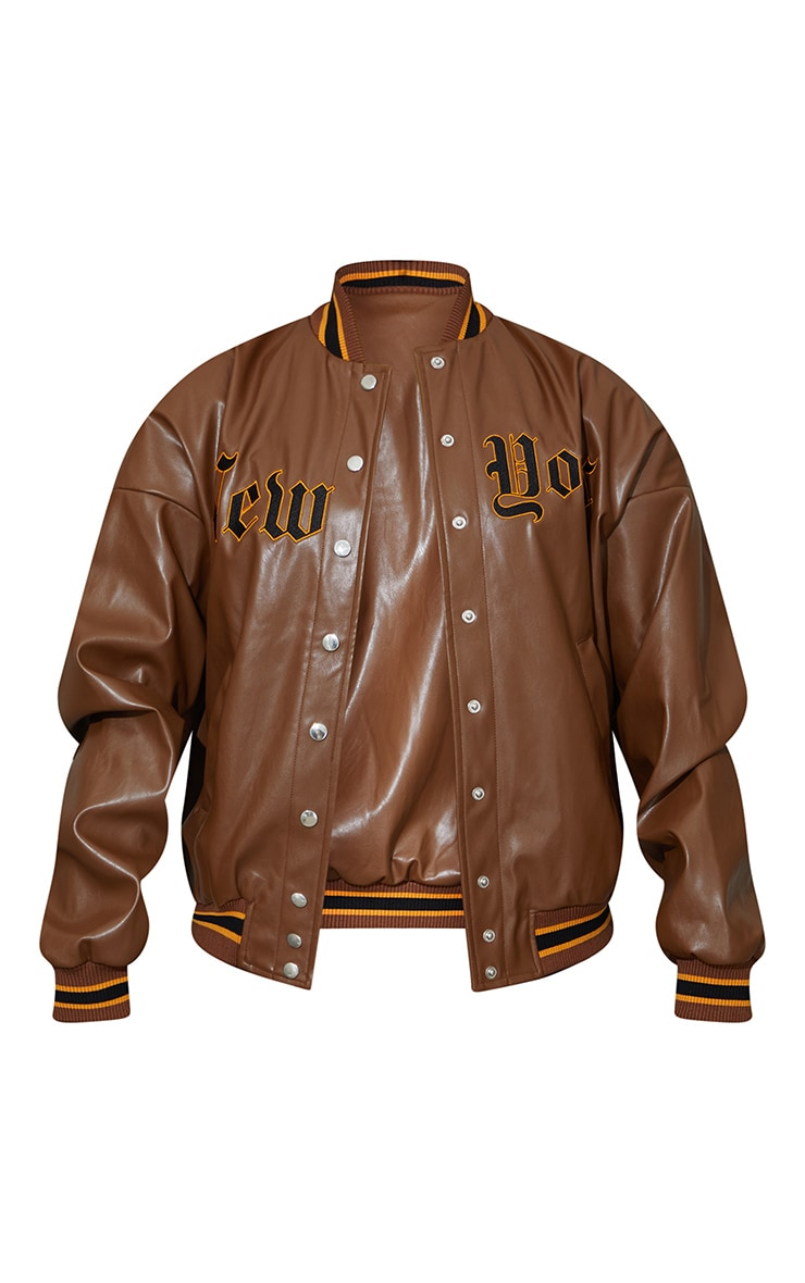 Chocolate PU Embroidered Bomber Jacket 6