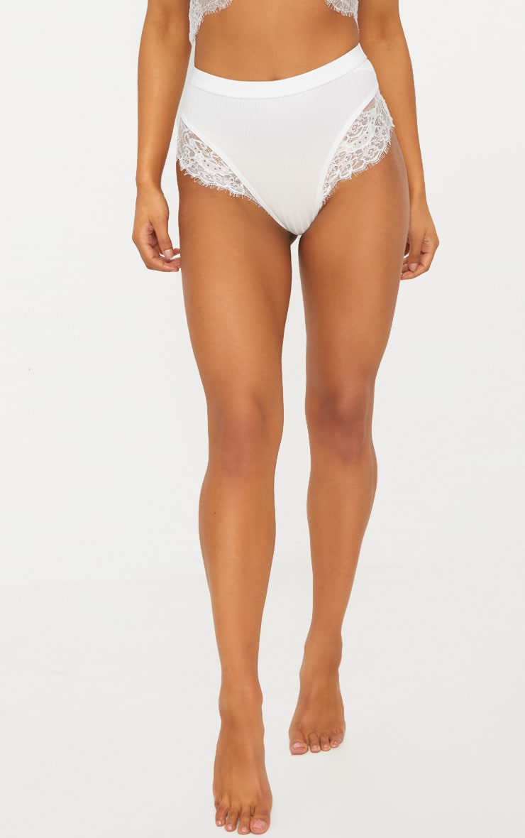 White Ribbed & Lace Mix Knickers 2