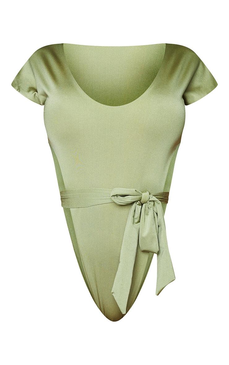 Shape Khaki Extreme High Leg Tie Waist Swimsuit 5