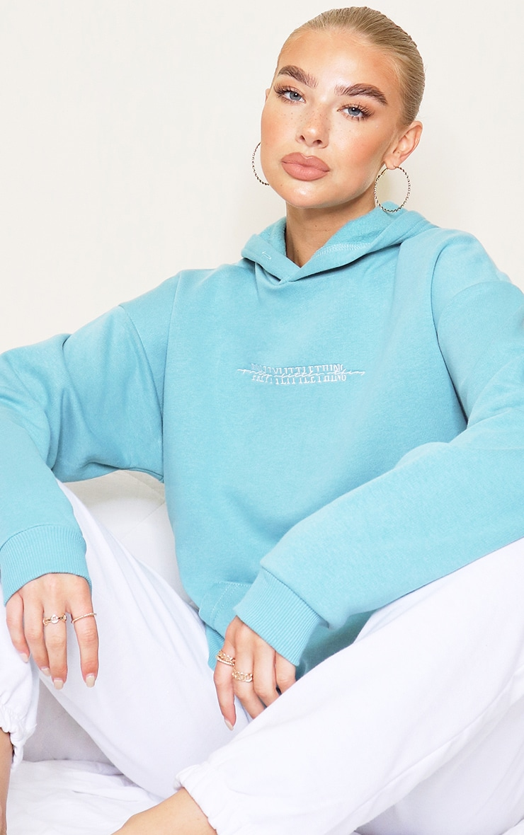 PRETTYLITTLETHING Dusty Turquoise Embroidered Hoodie 1