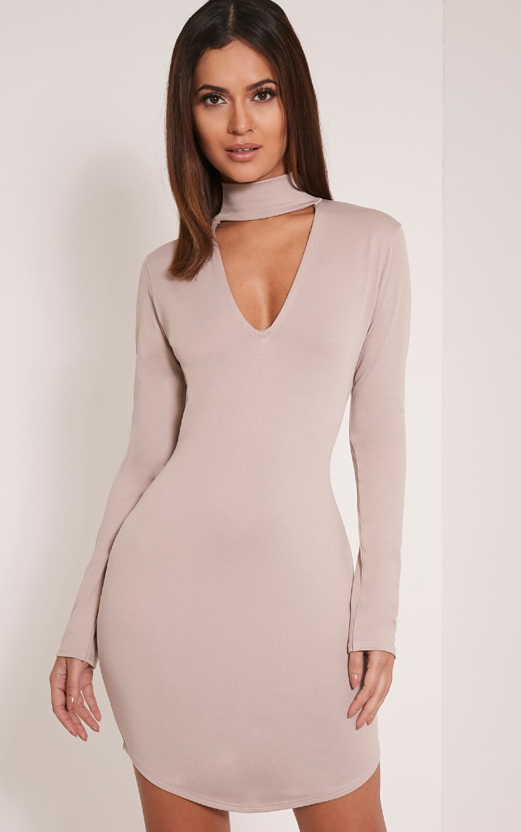 Arianna Taupe Crepe Choker Detail Bodycon Dress 1