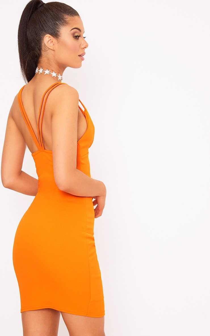 Bright Orange Double Strap Bodycon Dress 2