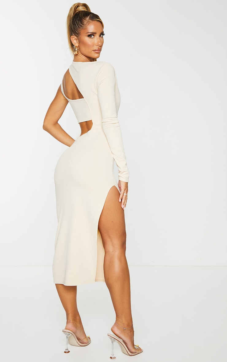 Stone Ribbed One Shoulder Cut Out Detail Midi Dress 2
