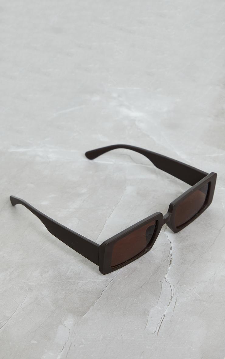 Chocolate Matte Square Frame Sunglasses 2