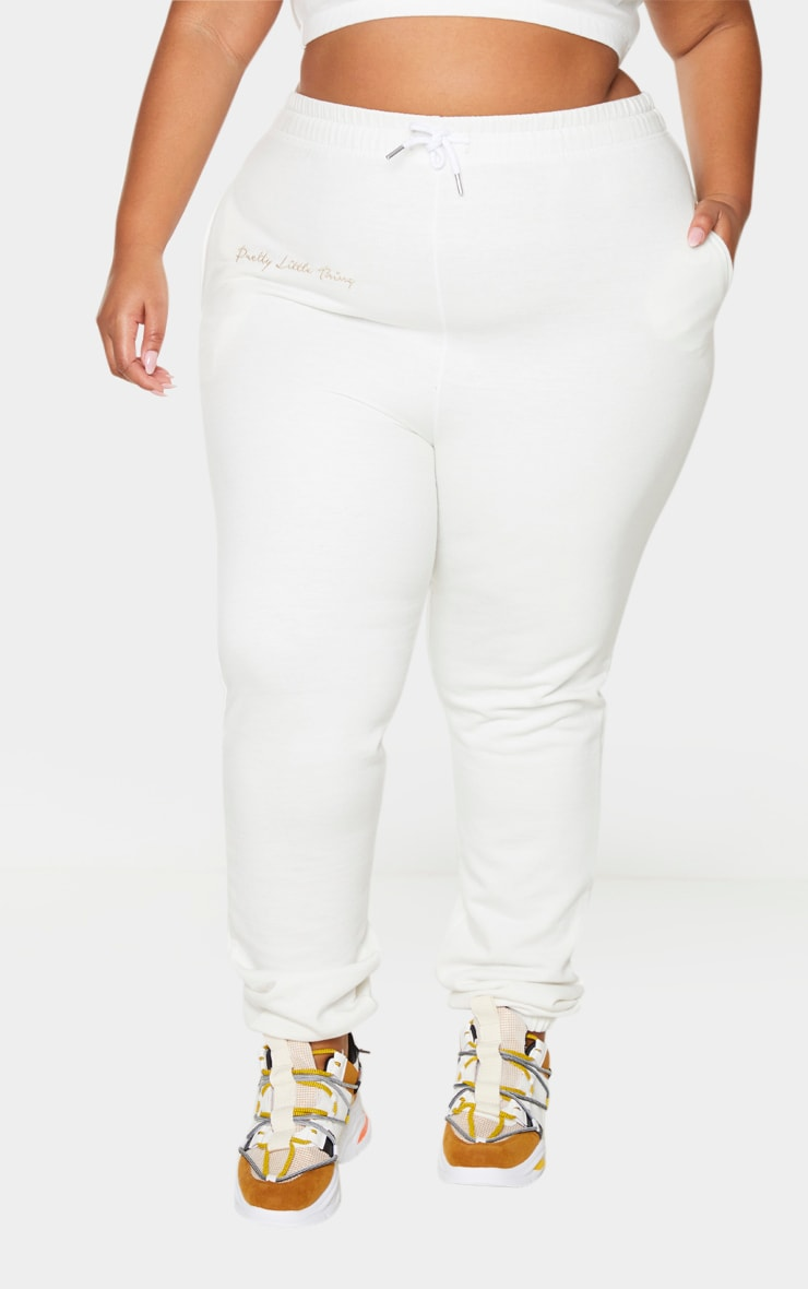 PRETTYLITTLETHING Plus Cream Drawstring Joggers 2