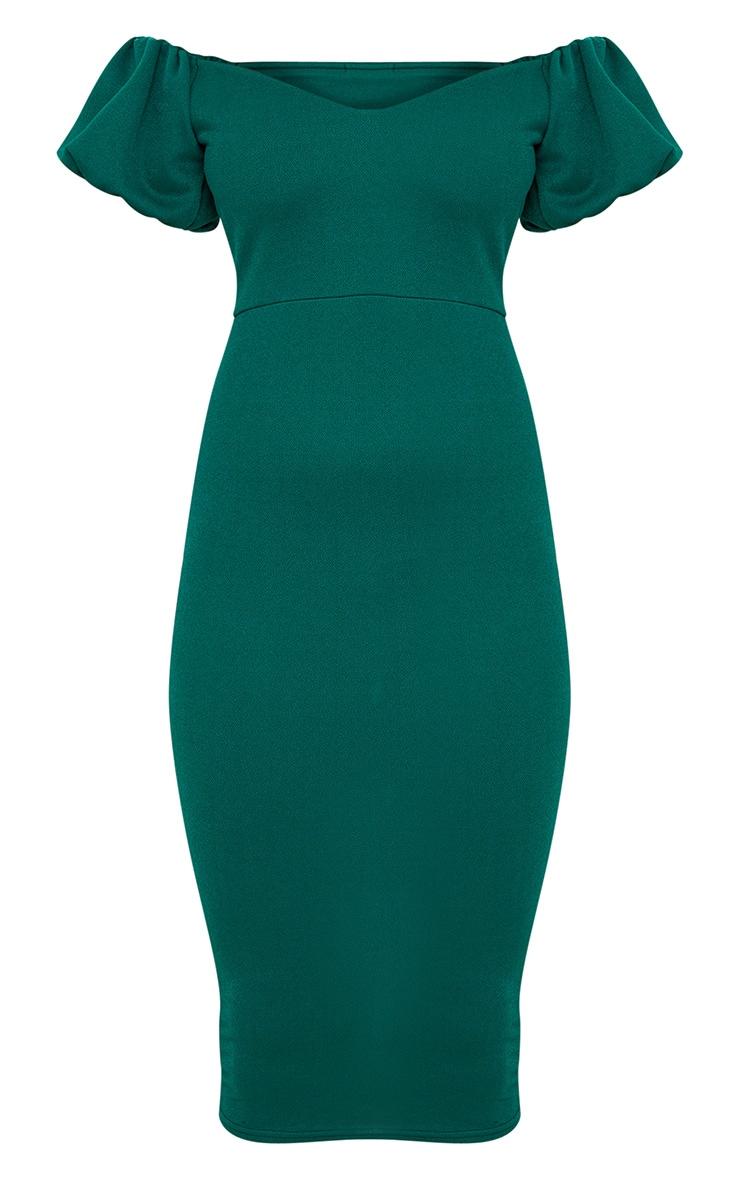 Emerald Green Balloon Sleeve Bardot Midi Dress 3
