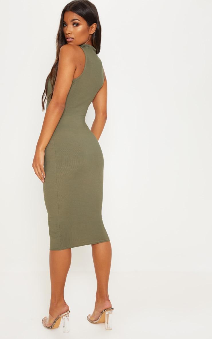 Khaki High Neck Belt Detail Midi Dress 2